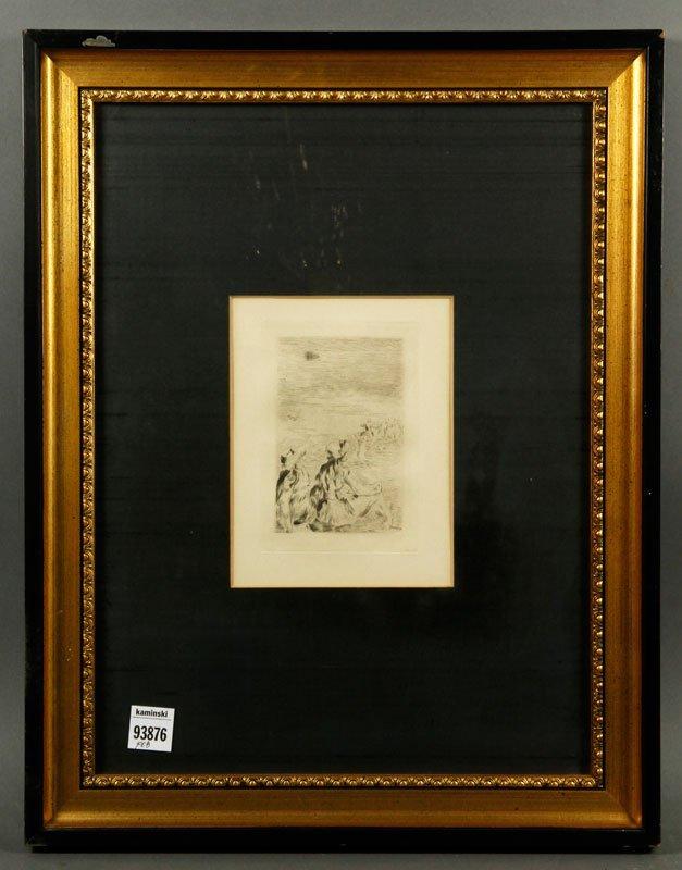"""Renoir """"Sur La Place,"""" Etching."""