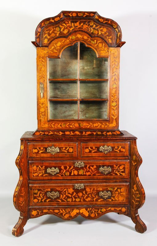 18th C. Dutch Marquetry Cabinet on Chest