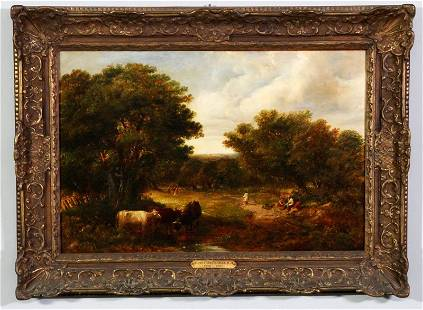 Attributed Constable, Cows and Figures, O/C