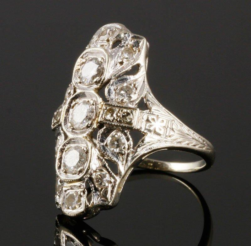 14K White Gold and Diamond Filigree Ring