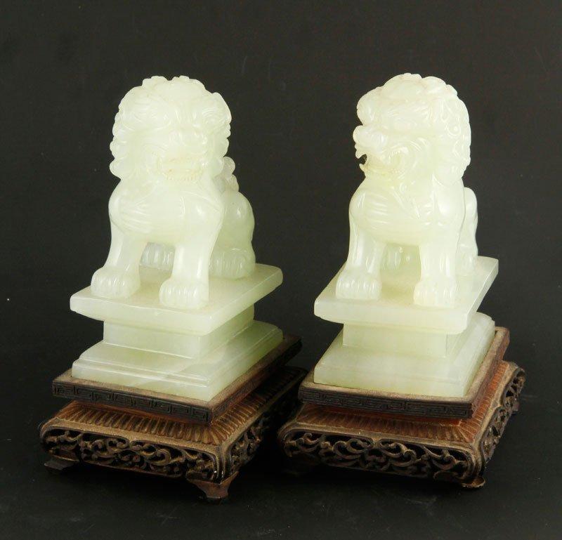 Pair Chinese Jade Foo Dogs