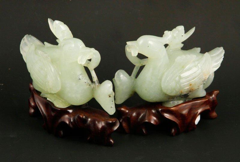 Pair Chinese Jade Ducks