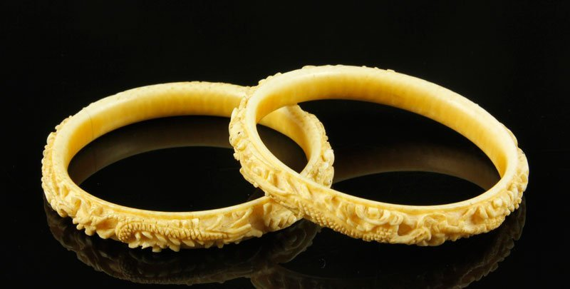 Pair of Hand Carved Ivory Bracelets