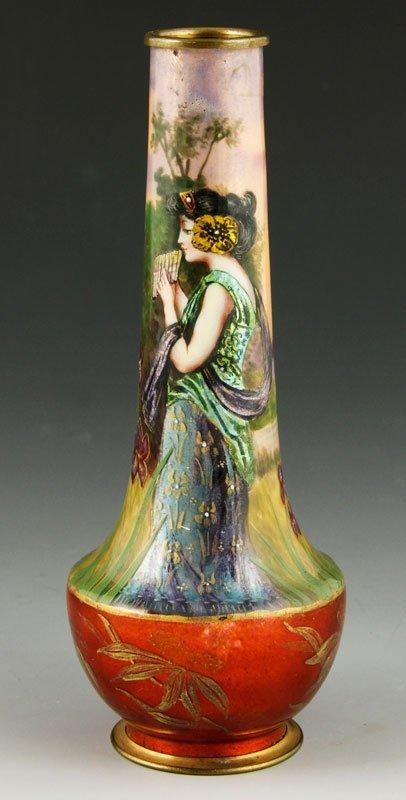 Fine French Limoges on Copper Vase