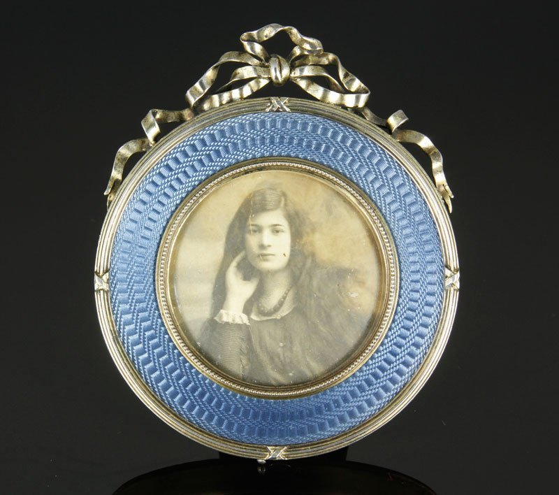 Faberge Silver and Guilloche Enameled Frame