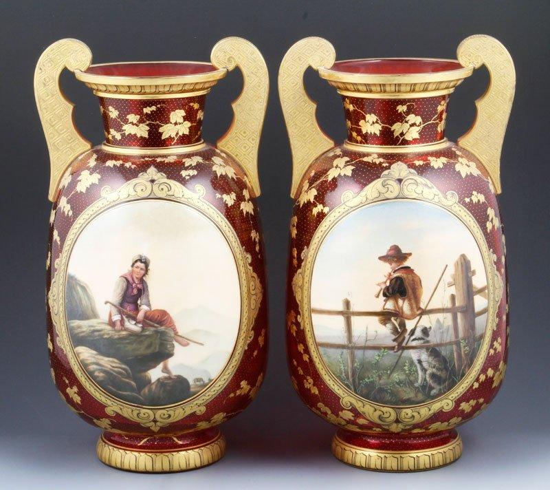 19th C. Pair of Glass Portrait Vases
