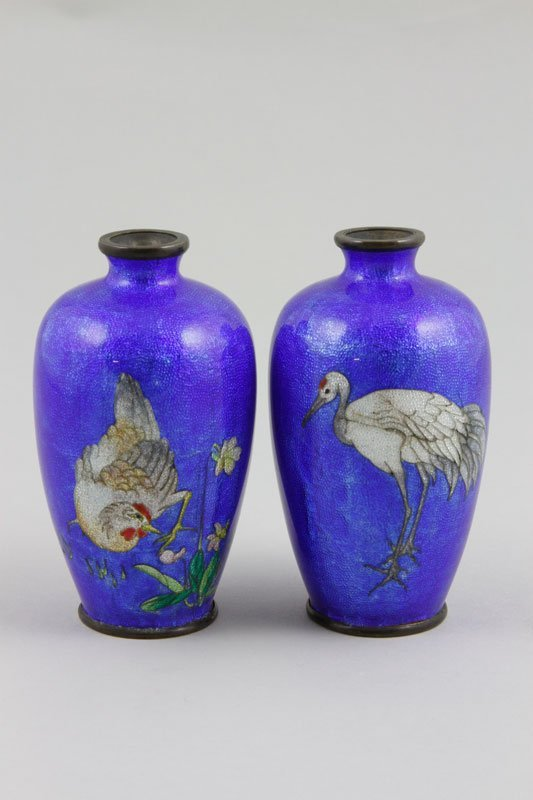 Japanese 19th C. Pair of Cloisonné Vases