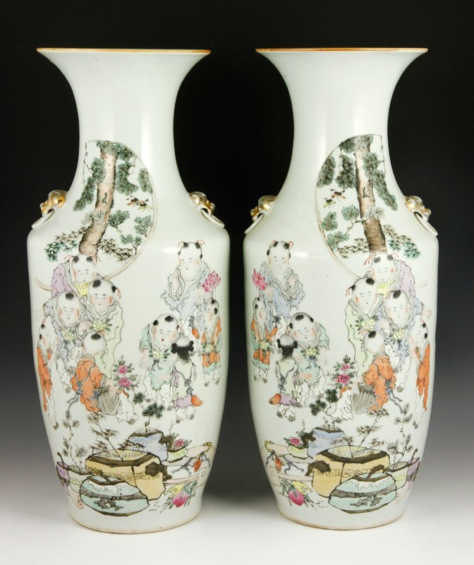 Chinese 19th C. Pair of Famille Rose Vases