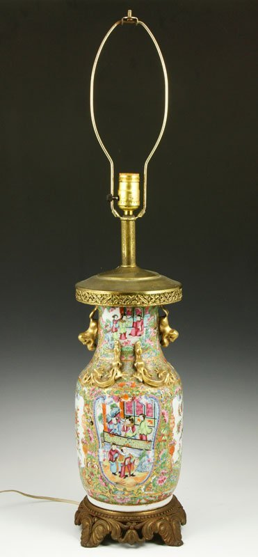 Chinese Rose Medallion Lamp