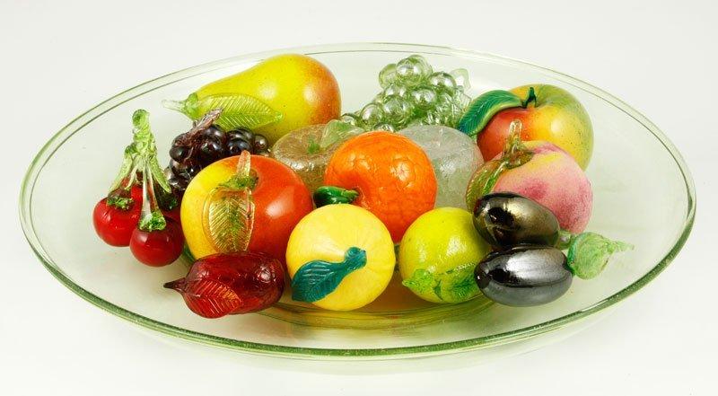 Venini Bowl with 14 Art Glass Fruits