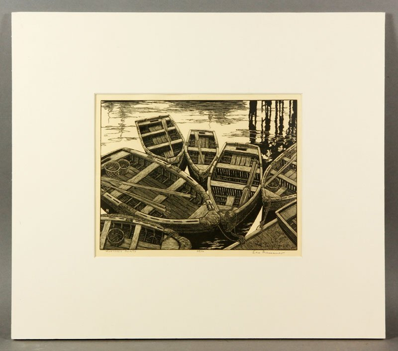 """Meissner, """"Monterey Boats"""", Engraving"""
