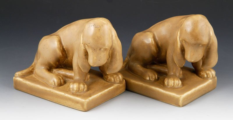 Rookwood Pottery Basset Hound Bookends