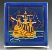 California Faience Ship Tile