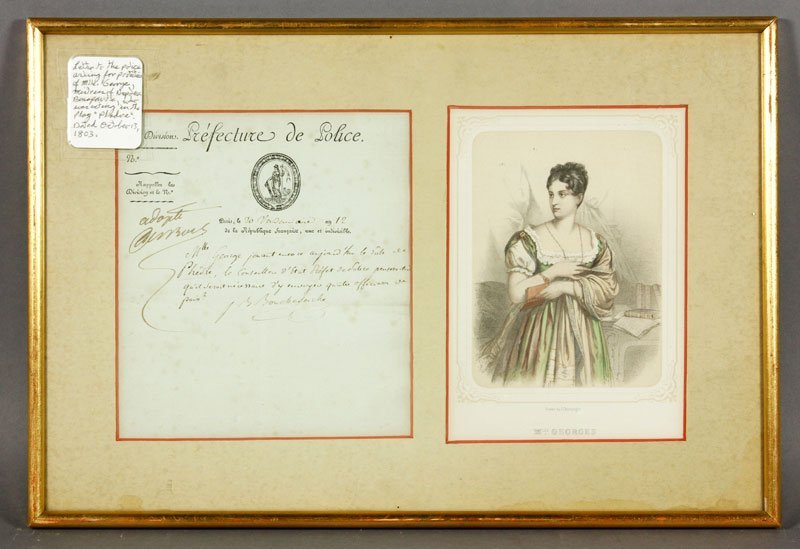 Letter Regarding Mlle. Georges, Mistress of Napoleon