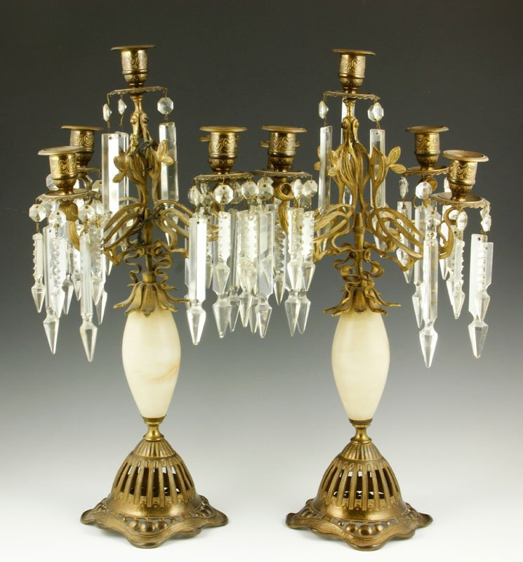 19th C. Pair of Art Nouveau Candlesticks