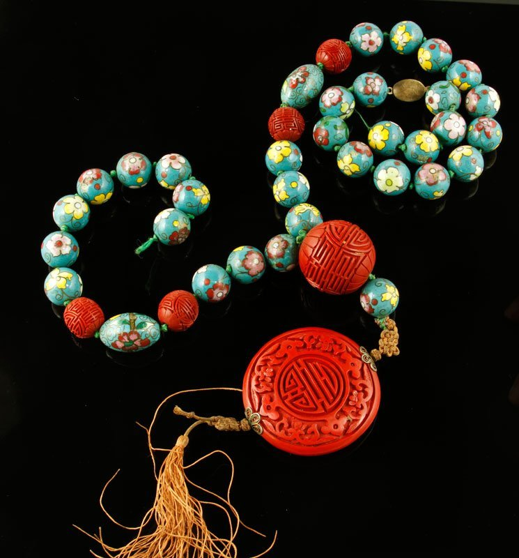 Cloisonne Beads and Cinnabar Pendant