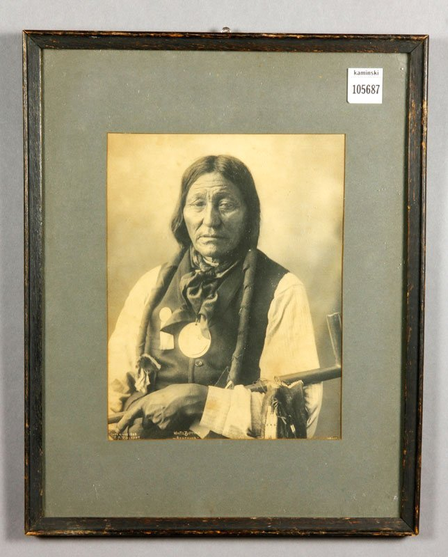 Native American with Peace Pipe, Photograph