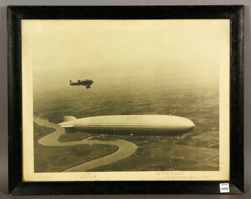Photograph of Zeppelin and WWI Prop Plane