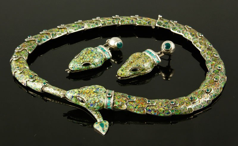 Mexican 3 Pc. Enameled Snake Jewelry Set