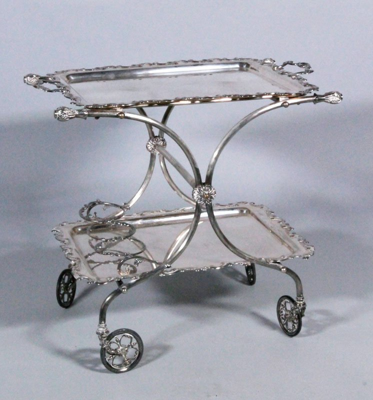 20th C. Italian Silver-Plated Liquor Cart