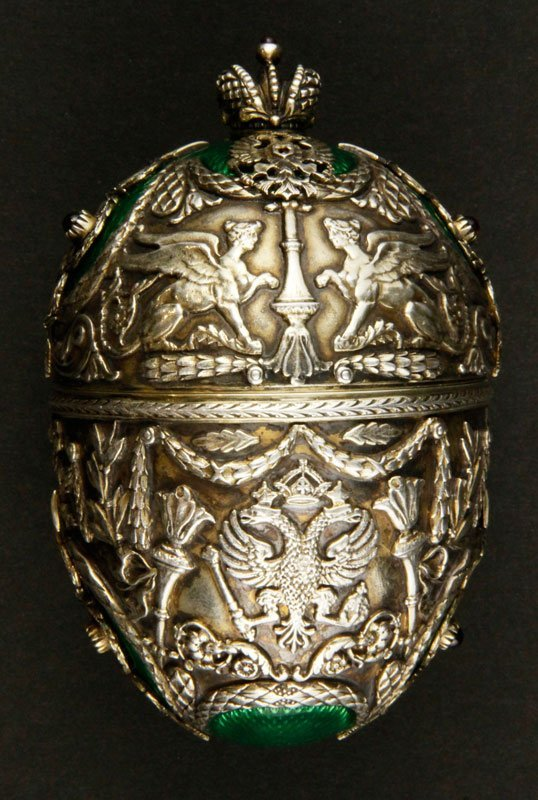 Russian Silver and Enamel Covered Egg