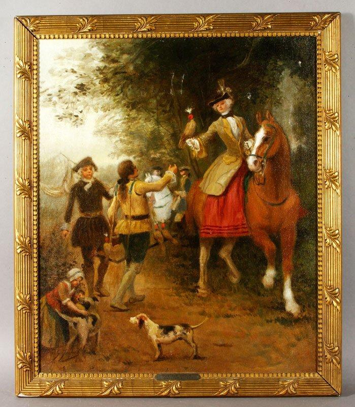 19th C. Hunting Scene, O/C