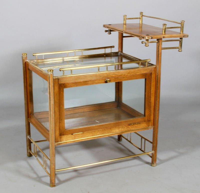 English Oak Glass Bar Cart