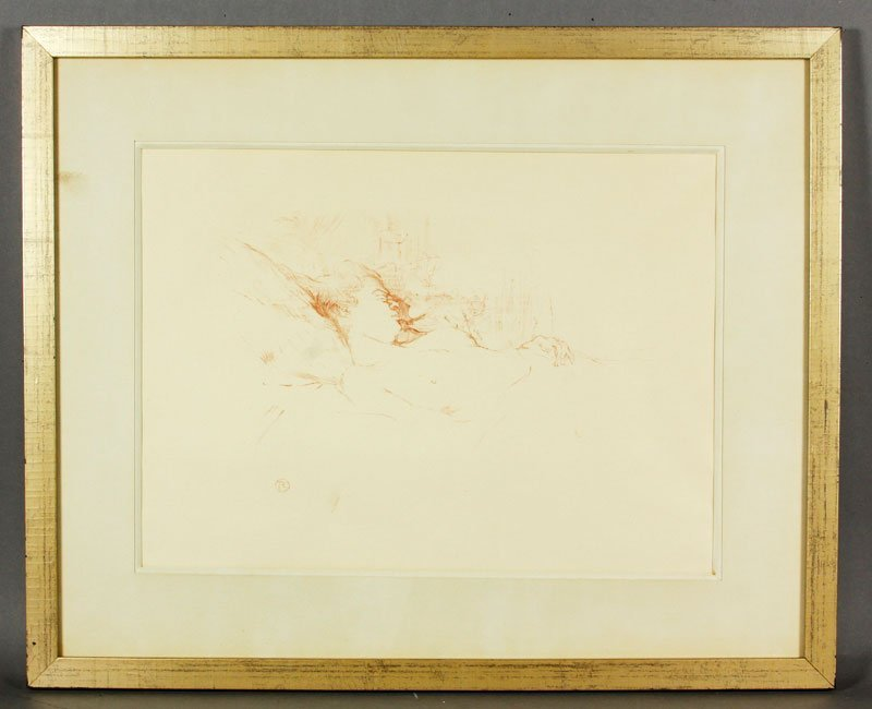 """Toulouse-Lautrec, """"Le Sommeil,"""" Crayon Lithograph"""
