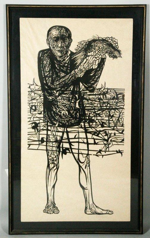 """Baskin, """"Man of Peace,"""" Woodcut Print"""