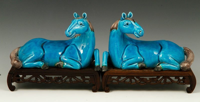 Chinese Pair of Turquoise Glazed Horses