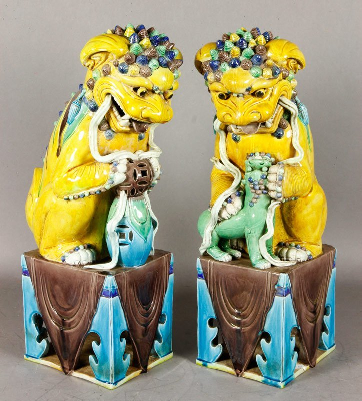 Chinese Late 19th C. Porcelain Foo Dogs