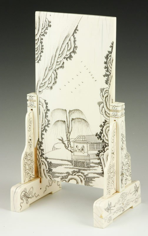 Chinese Ivory Table Screen