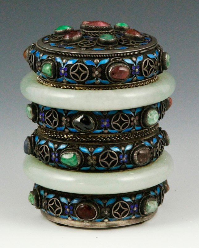 Chinese Silver Jeweled Case