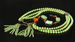 Chinese Jade Beaded Necklace and 14 K Gold and Jade