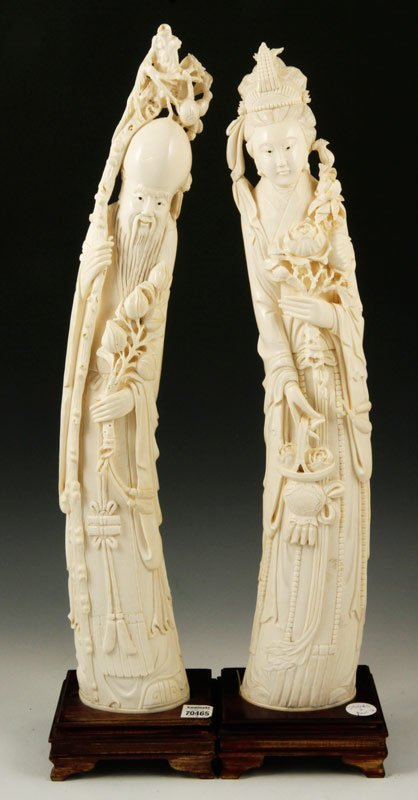 Chinese Pair of Ivory Figures