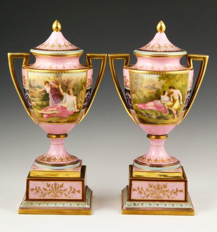 Pair Royal Vienna Portrait Vases