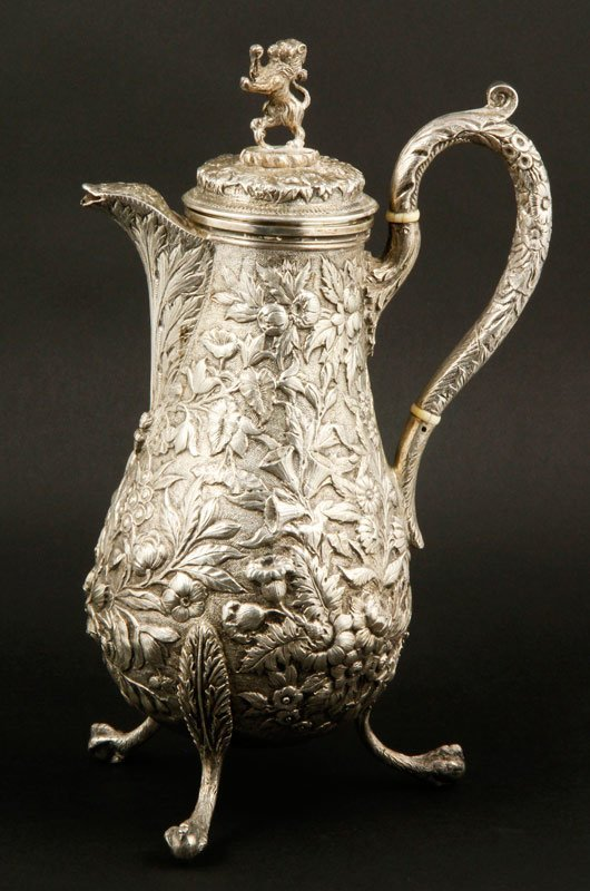 19th C. S. Kirk & Son Repousse Sterling Coffee Pot
