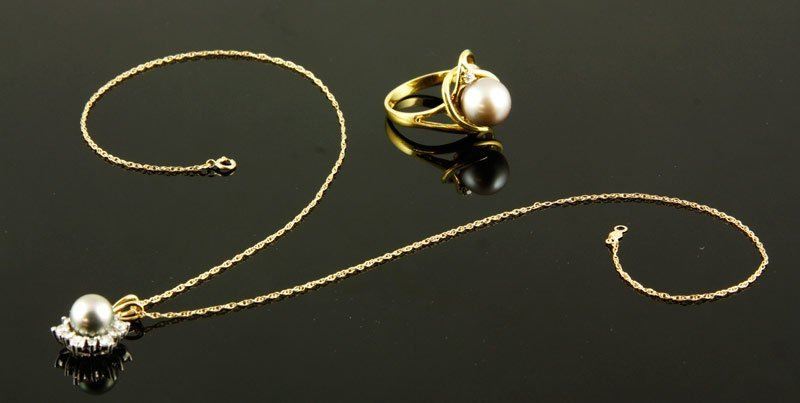 2 Pieces Gold, Diamond and Peal Jewelry