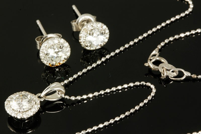 14K Gold and Diamond Earrings and Pendant on Necklace