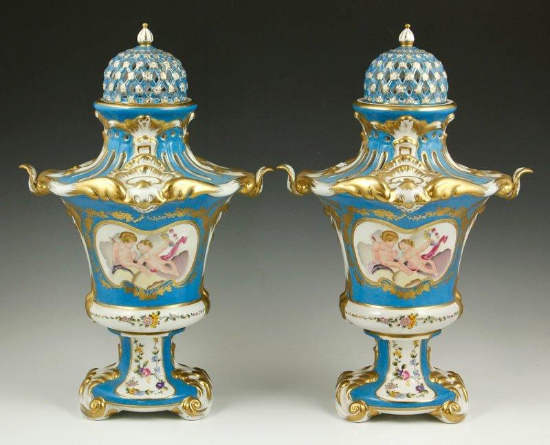20th C. Pair Sevres Style Porcelain Urns