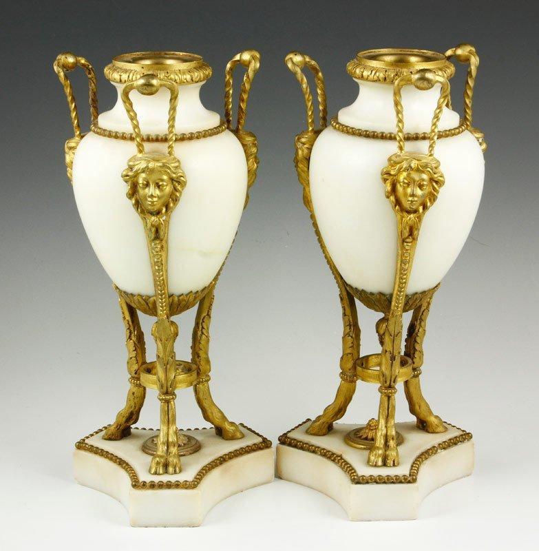 2 Marble and Bronze Garnitures
