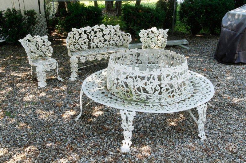 4 Victorian Wrought Iron Garden Seats