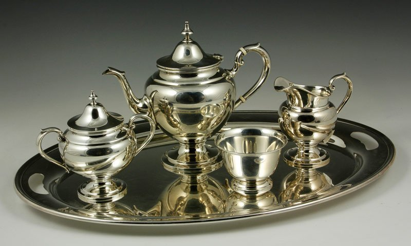 4 Pc. Sterling Tea Set & Silver-Plate Tray