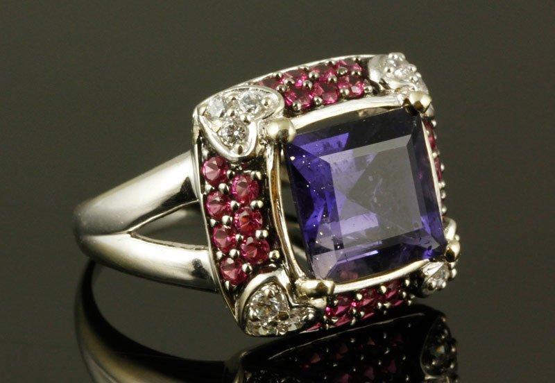 Ruby, Amethyst and Diamond Ring