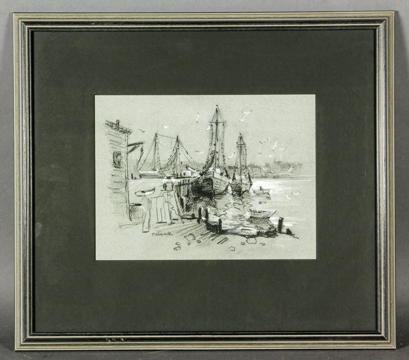 """Strisik, """"Gloucester Harbor"""", Pastel, Charcoal and"""
