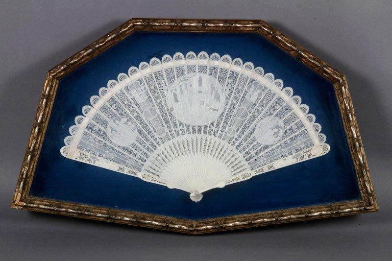 Napoleonic Carved Ivory Mourning Fan