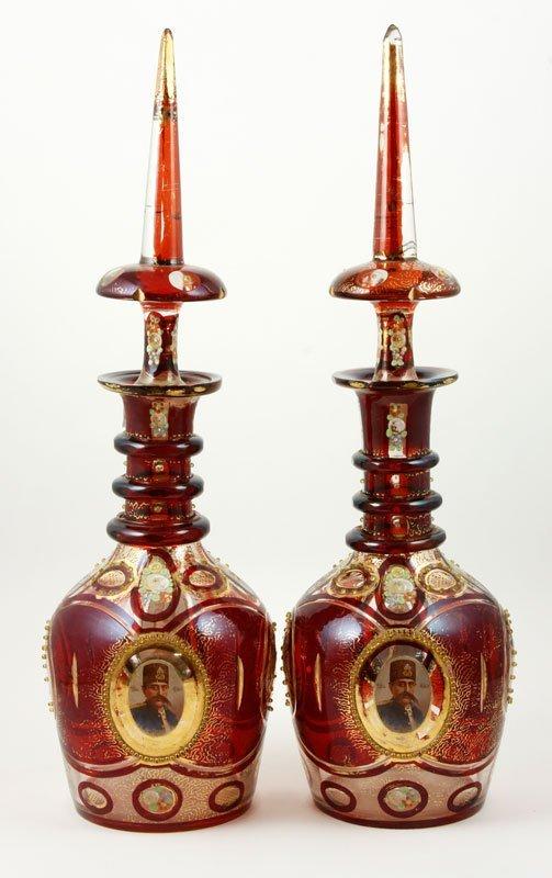 Pair Bohemian Glass Decanters