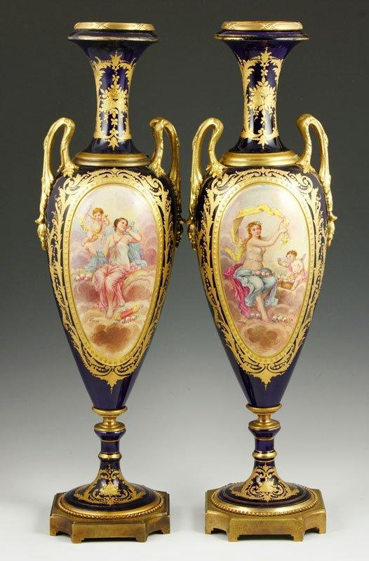 19th C. Sevres Pair of Vases