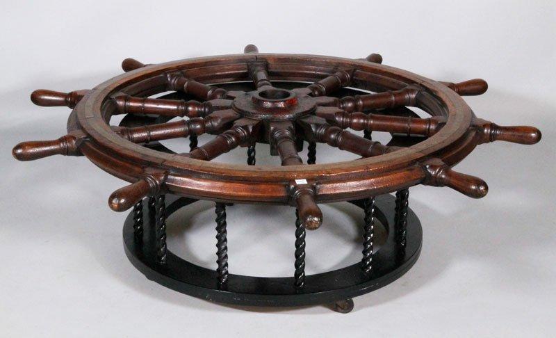 Antique Ship Wheel Coffee Table