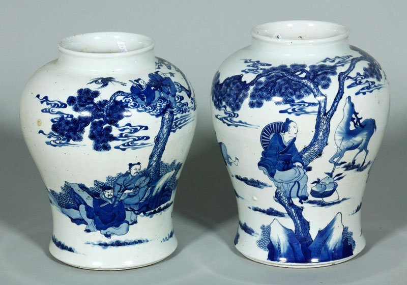 Pair Blue and White Porcelain Jars